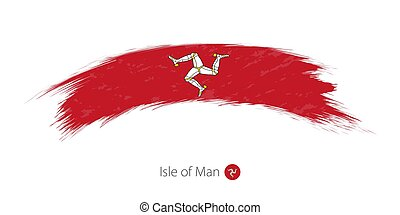 Flag of Isle of Man in rounded grunge brush stroke.