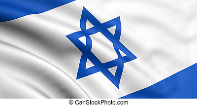 3d rendered and waving flag of israel