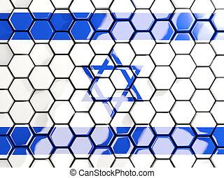 Flag of israel, hexagon mosaic background