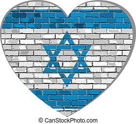 Flag of Israel in heart shape
