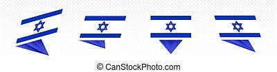Flag of Israel in modern abstract design, flag set.