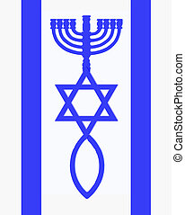 Flag of Israel - Menorah, Star of David and fish in blue...