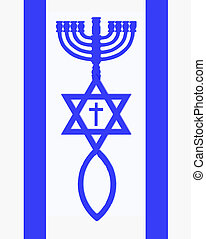 Flag of Israel - Menorah, Star of David, fish and cross in...