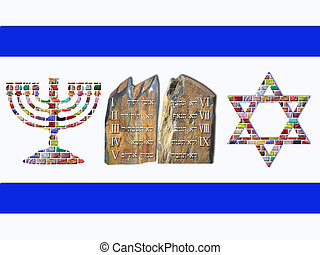 Flag of Israel - Menorah, Ten Commandments and Star of David...