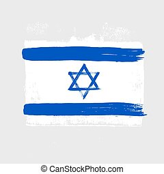 Flag of Israel on a gray background.