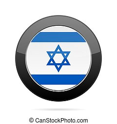 Flag of Israel. Shiny black round button.