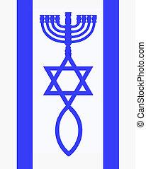 Flag of Israel - Menorah, Star of David and fish in blue...