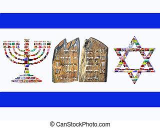 Flag of Israel - Menorah, Ten Commandments and Star of David...