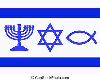 Flag of Israel - Menorah, Star of David, fish and cross in...