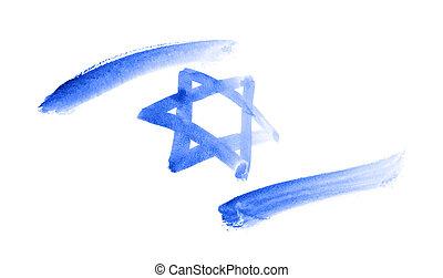 Flag of Israel. Watercolor sketch