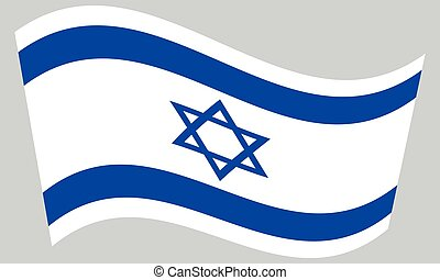 Flag of Israel waving on gray background