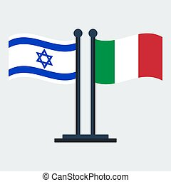Flag Of Italy and Israel. Flag Stand. Vector Illustration