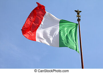 Flag of Italy at Vittoriano, Rome. National symbol.