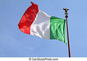 Flag of Italy at Vittoriano, Rome. National symbol.