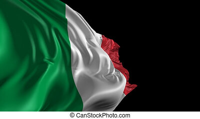 Beautiful 3d animation of The Italy flag with alpha channel