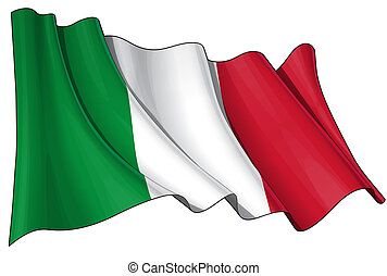 Flag of Italy - Clean cut waving flag with clipping path.