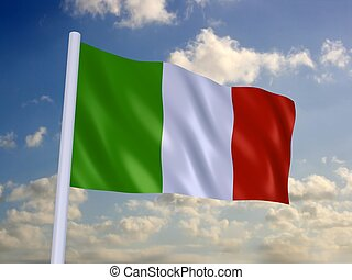 flag of italy - 3d rendered illustration of the italien...