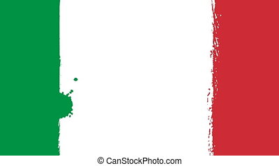 Flag of Italy - Drawing Italian Flag by Brush Strokes