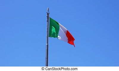 Flag of Italy fluttering in the wind