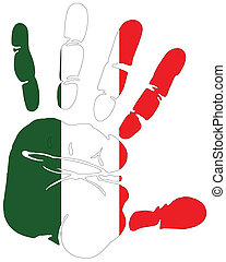 flag of Italy hand print