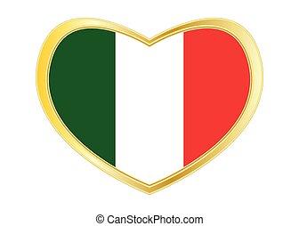 Flag of Italy in heart shape, golden frame