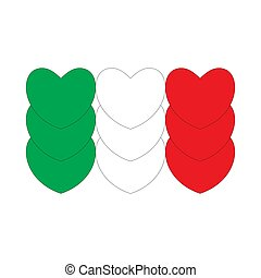 Flag of Italy made of hearts.