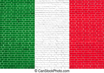 Flag of Italy on brick wall texture background