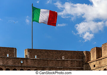 Flag of Italy on the Castle