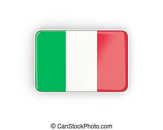 Flag of italy, rectangular icon with white border. 3D...