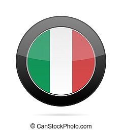 Flag of Italy. Shiny black round button.