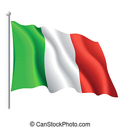 Flag of Italy - Vector illustration of flying flag of Italy