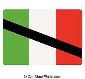 flag of italy with mourning