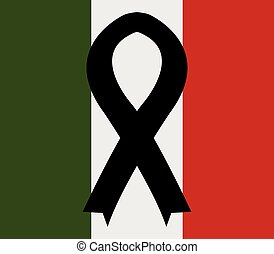 flag of italy with mourning ribbon