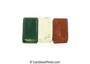 Flag of Italy with wax crayon