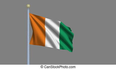 Flag of Ivory Coast waving in the wind with flagpole - very highly detailed and realistic waving flag with alpha matte for easy isolation