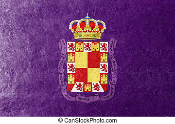 Flag of Jaen, Spain, painted on leather texture