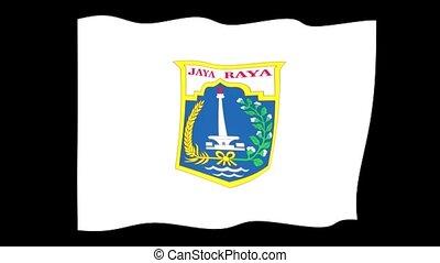 Flag of Jakarta. Waving flag - Flag animation Background...