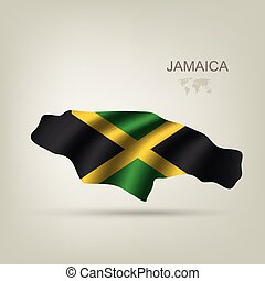 Flag of Jamaica as a country with a shadow
