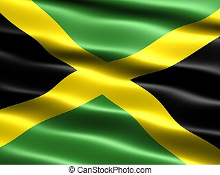 Flag of Jamaica, computer generated illustration with silky appearance and waves