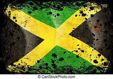 Grunge flag series of all sovereign countries - Jamaica