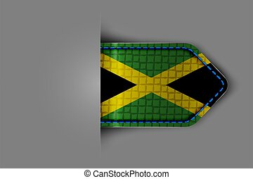 Flag of Jamaica in the form of a glossy textured label or ...