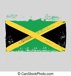 Flag of Jamaica on a gray background.