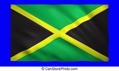 Flag of Jamaica on blue screen for chroma key