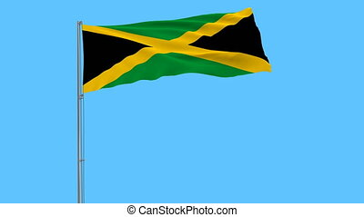 Flag of Jamaica on flagpole fluttering in the wind on blue background, 3d rendering