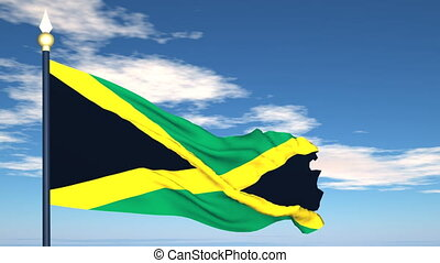 Flag Of Jamaica on the background of the sky and flying...