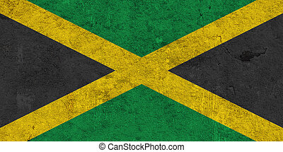 Flag of Jamaica on weathered concrete