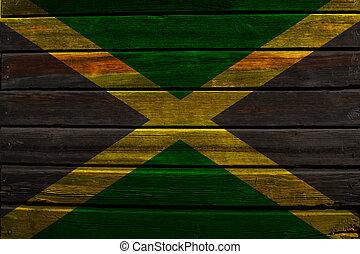 Flag of Jamaica on wood