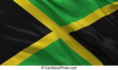 Flag of Jamaica - seamless loop - Flag of Jamaica gently...