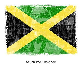 Flag of Jamaica - Computer designed highly detailed grunge...