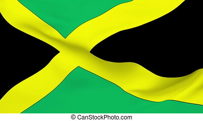 Flag of Jamaica - Flag of the Jamaica waving in the wind....